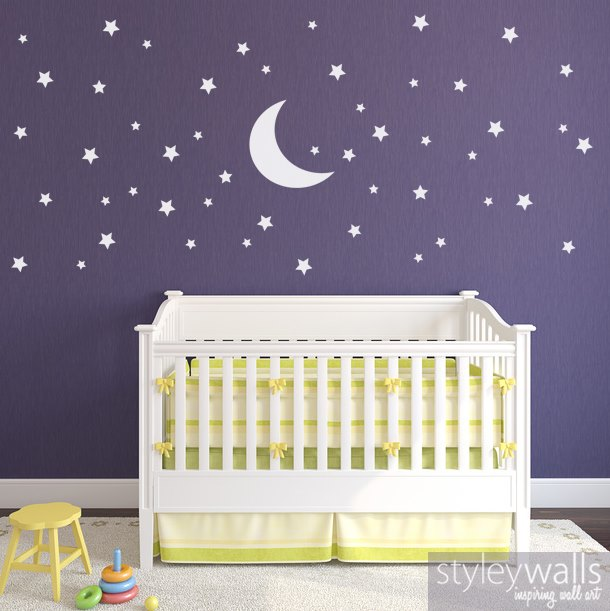 Moon and Stars Wall Decal Set
