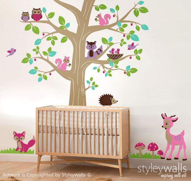 Woodland Animals and Huge Tree