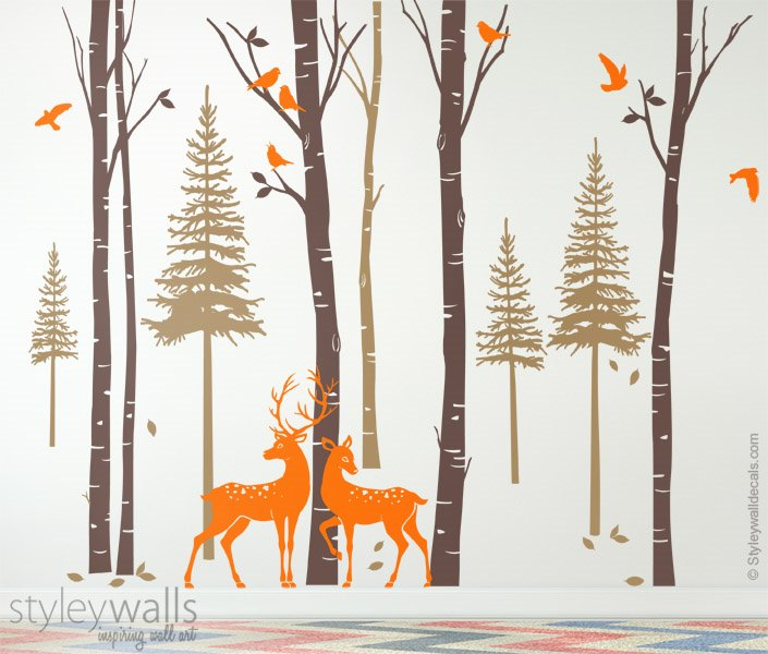 Birch Pine Trees Deer Birds