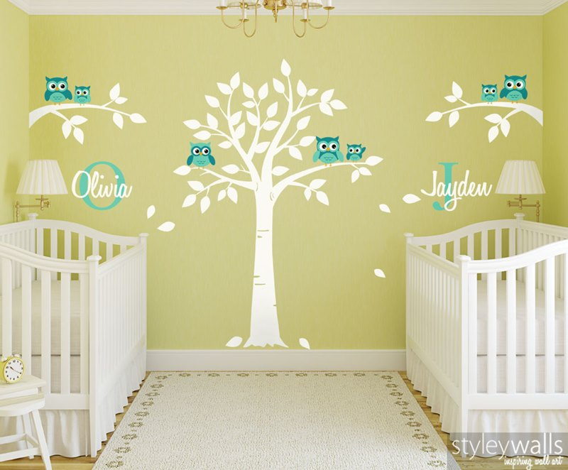 Twins Room Wall Decal Tree and Owls