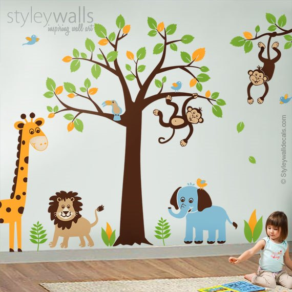 Jungle Animals and Tree