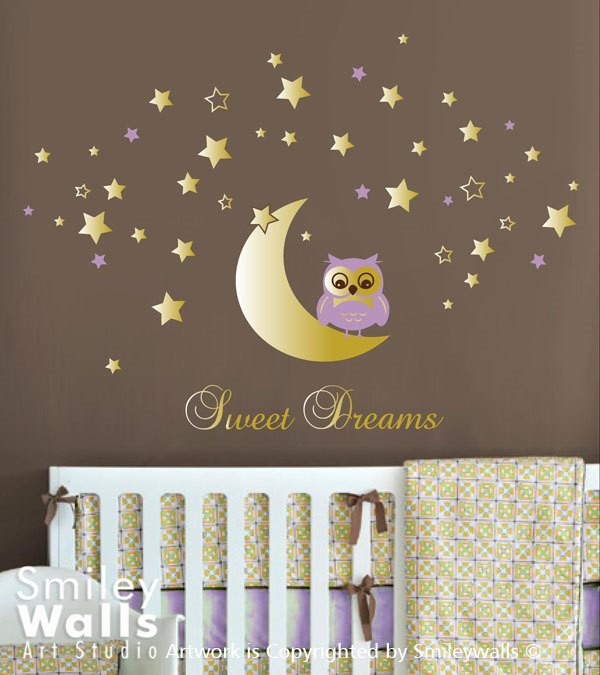 Personalized Name Sweet Dream Owl Kids Nursery Wall Decal Vinyl Wall Stickers