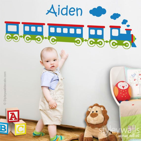 Train and Name Wall Decal