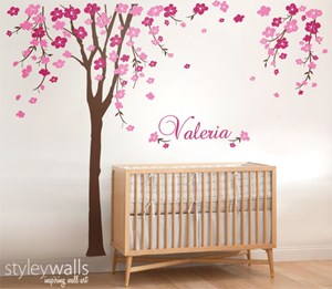 Flower Tree and Name Decal