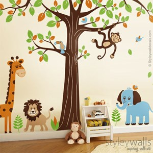 Huge Jungle Tree and Animals