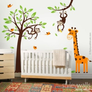 Monkeys and Giraffe with Tree