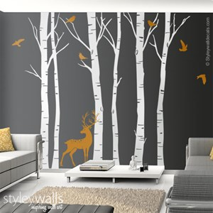 Birch Trees and Deer