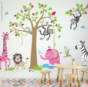 Jungle Safari Animals for Girls Room