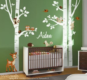 Birch Trees and Forest Animals